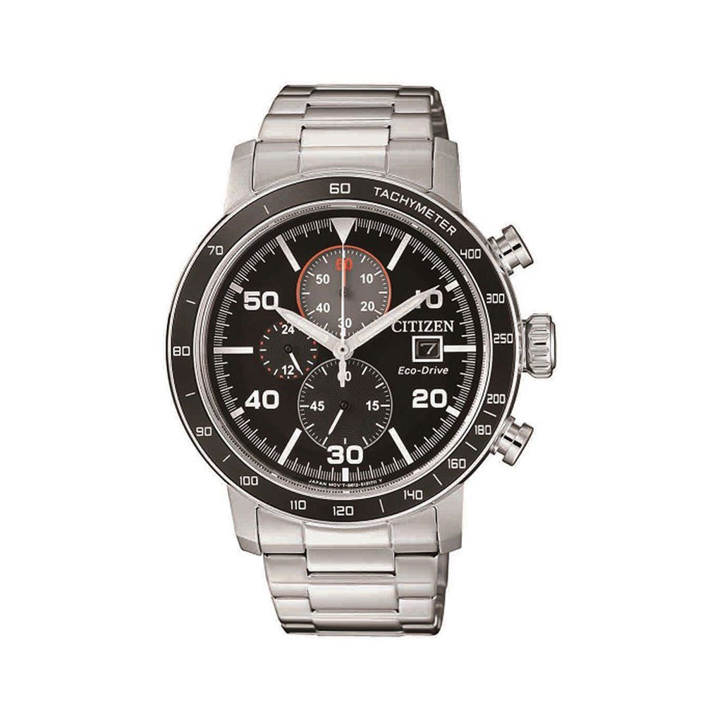Citizen Men's Eco Drive Chronograph Black & Silver Stainless-Steel Watch CA0641-83E Watches Citizen