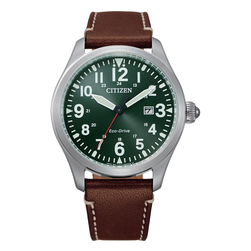 Citizen Men's Eco-Drive Green Face Brown Leather Watch BM6838-25X Watches Citizen