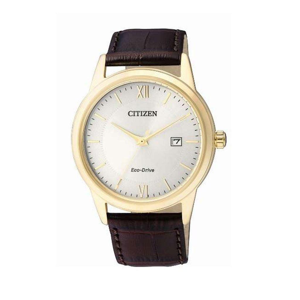 Citizen Men's Eco-Drive White Face Brown Leather Watch AW1232-12A Watches Citizen