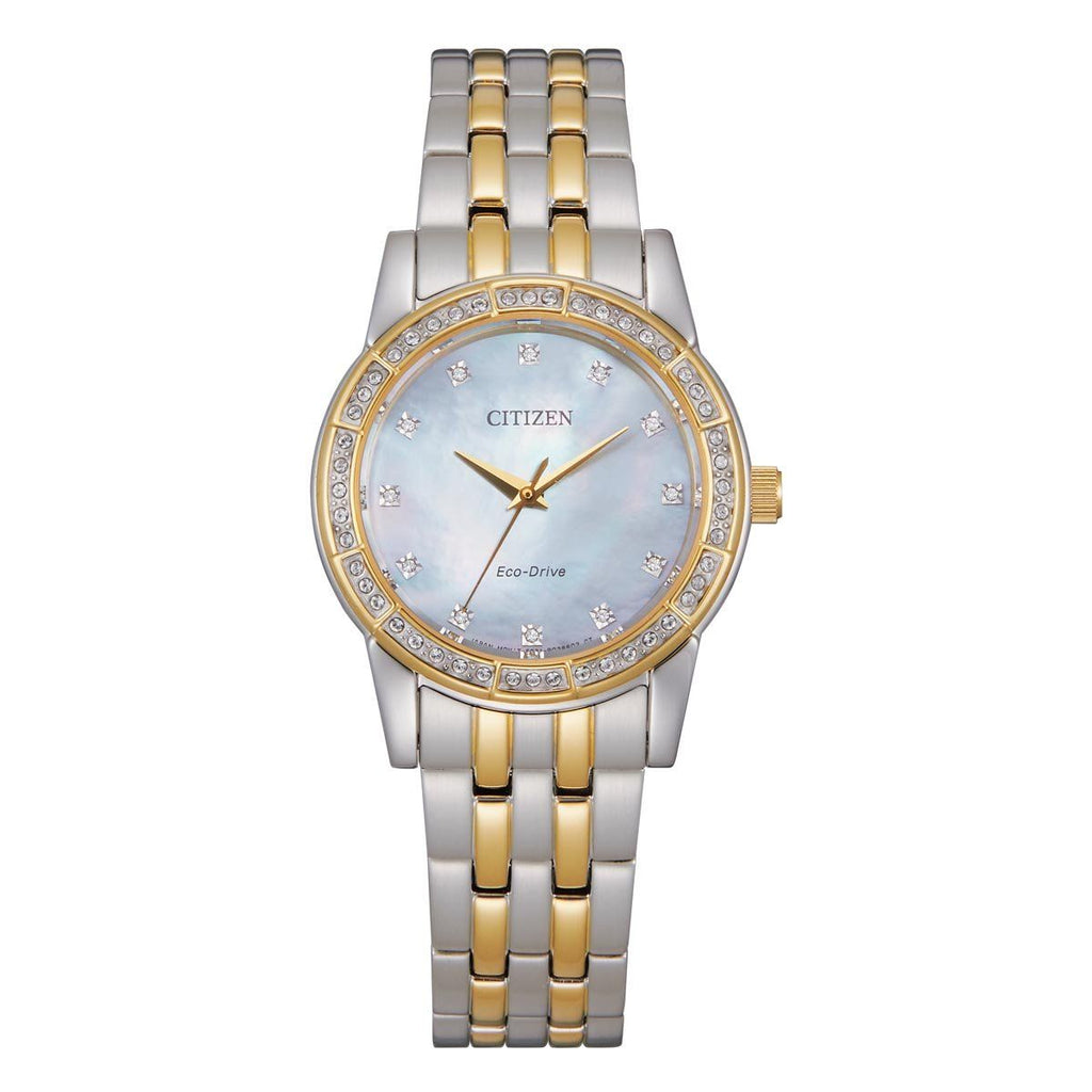 Citizen Ladies Two Tone Crystal Mother of Pearl Watch EM0774-51D Watches Citizen