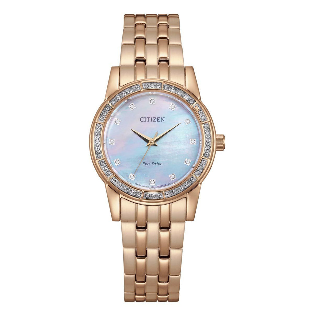 Citizen Eco Drive Ladies Rose Gold & Swarovski Mother of Pearl Watch EM0773-54D Watches Citizen