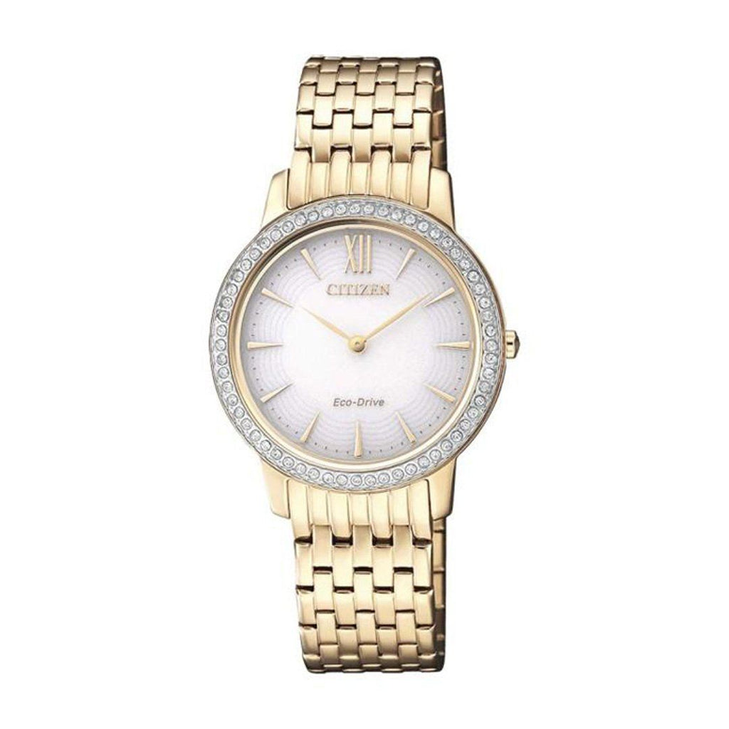 Citizen Eco Drive Ladies Crystal Gold Watch EX1483-84A Watches Citizen