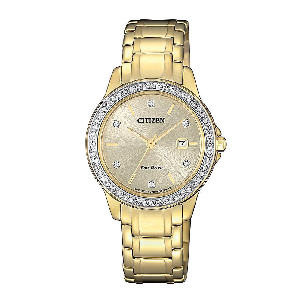 Citizen Eco Drive Swarovski Crystal Gold Watch FE1172-55P