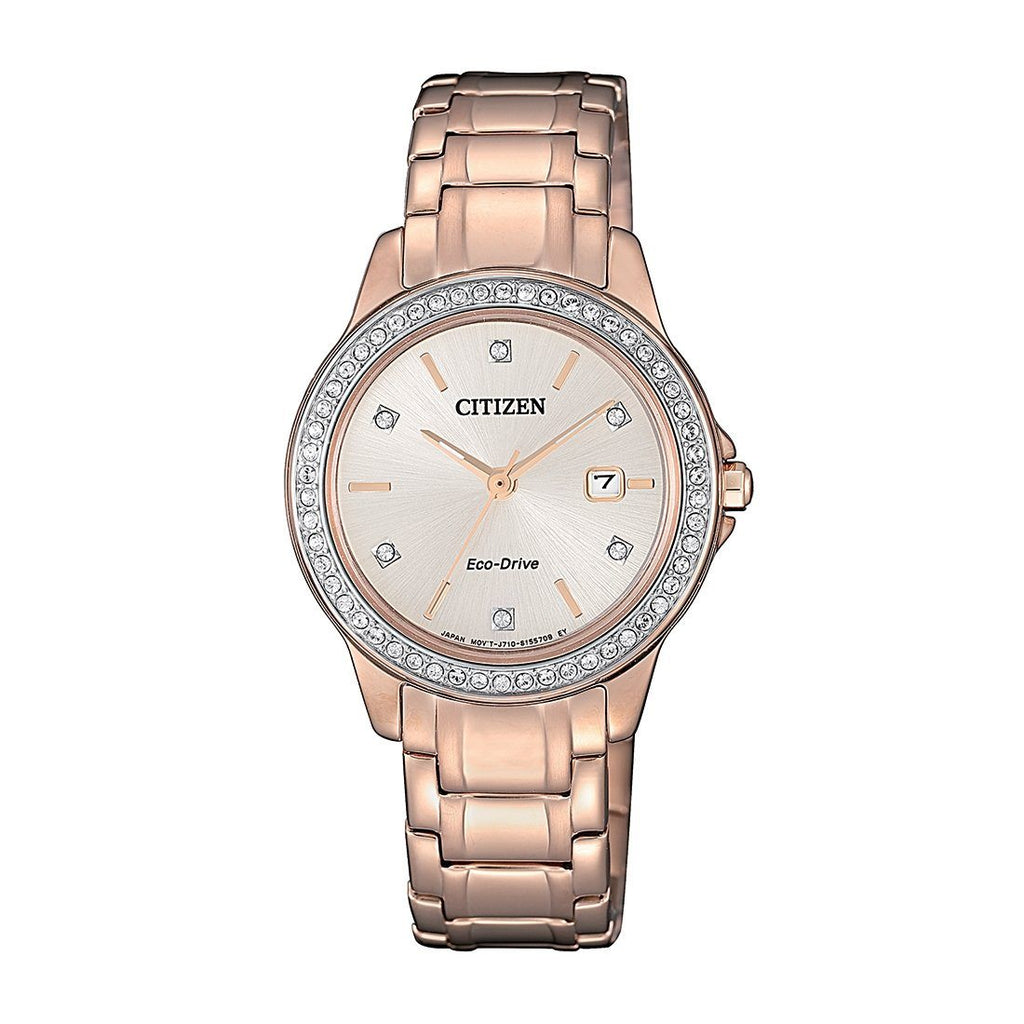Citizen Eco Drive Swarovski Rose Gold Watch FE1173-52A