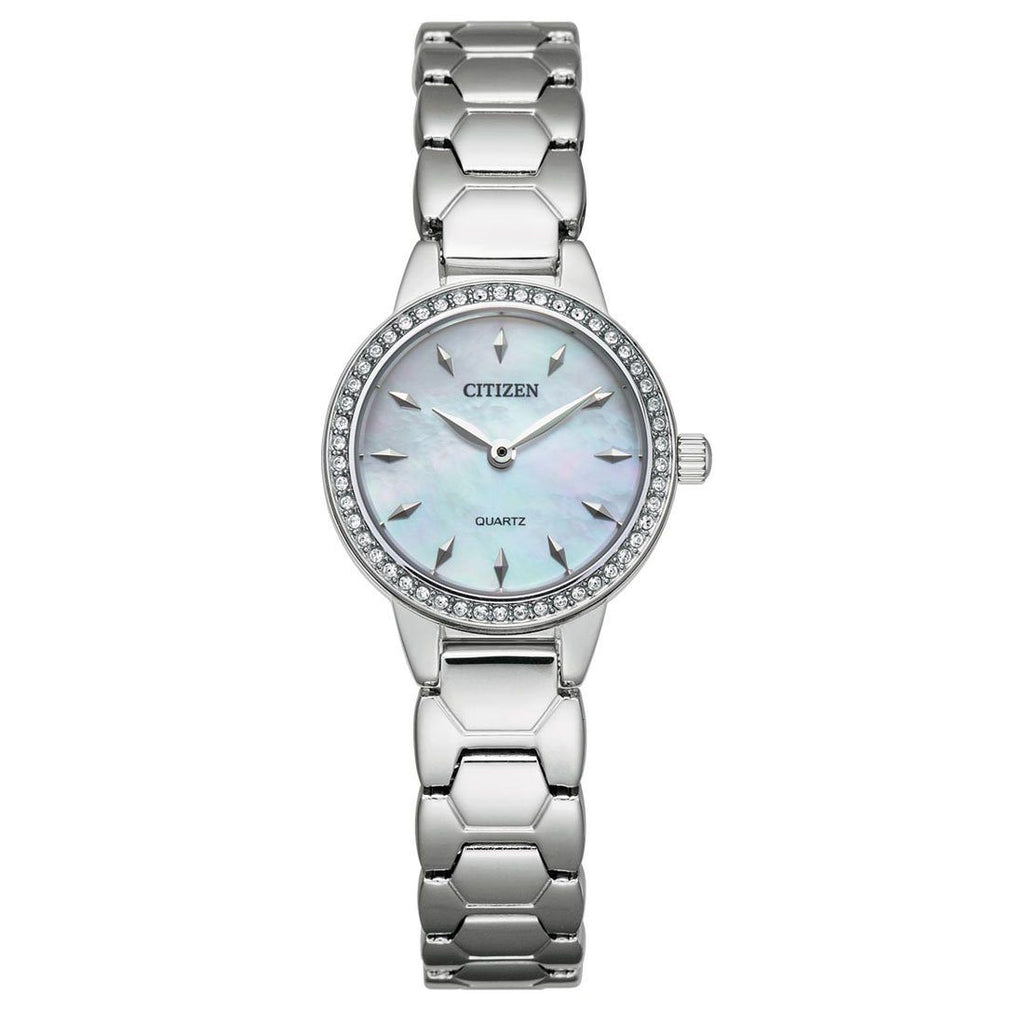 Citizen Ladies Crystal Silver Mother of Pearl Watch EZ7010-56D Watches Citizen