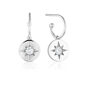 Georgini Stellar Lights Silver Drop Hoop Earrings