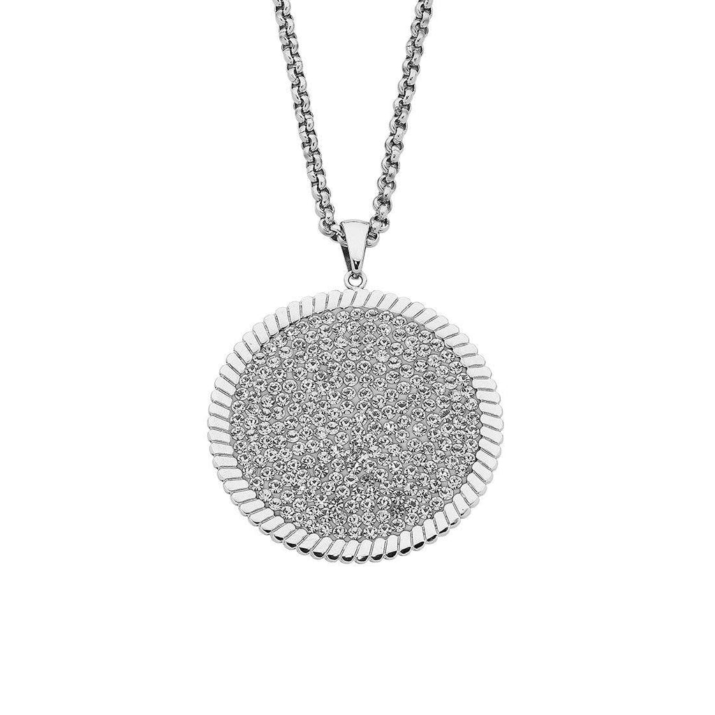 Stainless Steel & Crystal Pendant Necklace