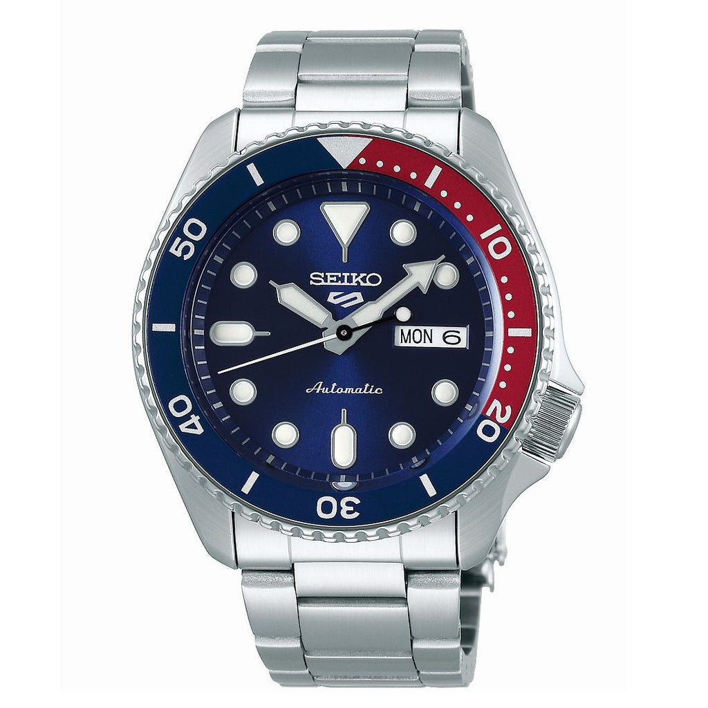 Seiko Automatic Red, Blue & Silver Watch SRPD53K Watches Seiko