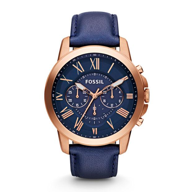Fossil Grant Chronograph Navy Leather Watch Watches Fossil