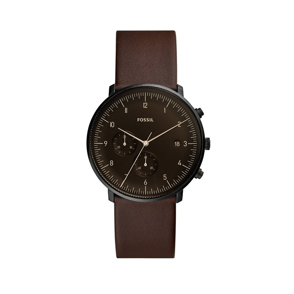 Fossil Chase Timer Chronograph Whisky Leather Watch FS5485P Watches Fossil