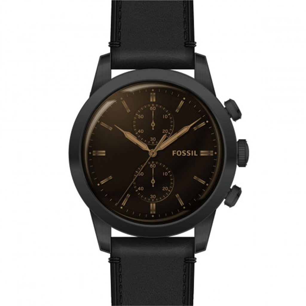 Fossil Machine Chronograph Black Leather Watch FSRR86P Watches Fossil