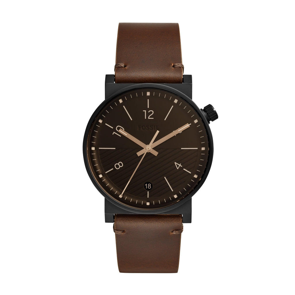 FOSSIL BARSTOW BLACK FACE CASE BROWN LEATHER BAND Watches Fossil