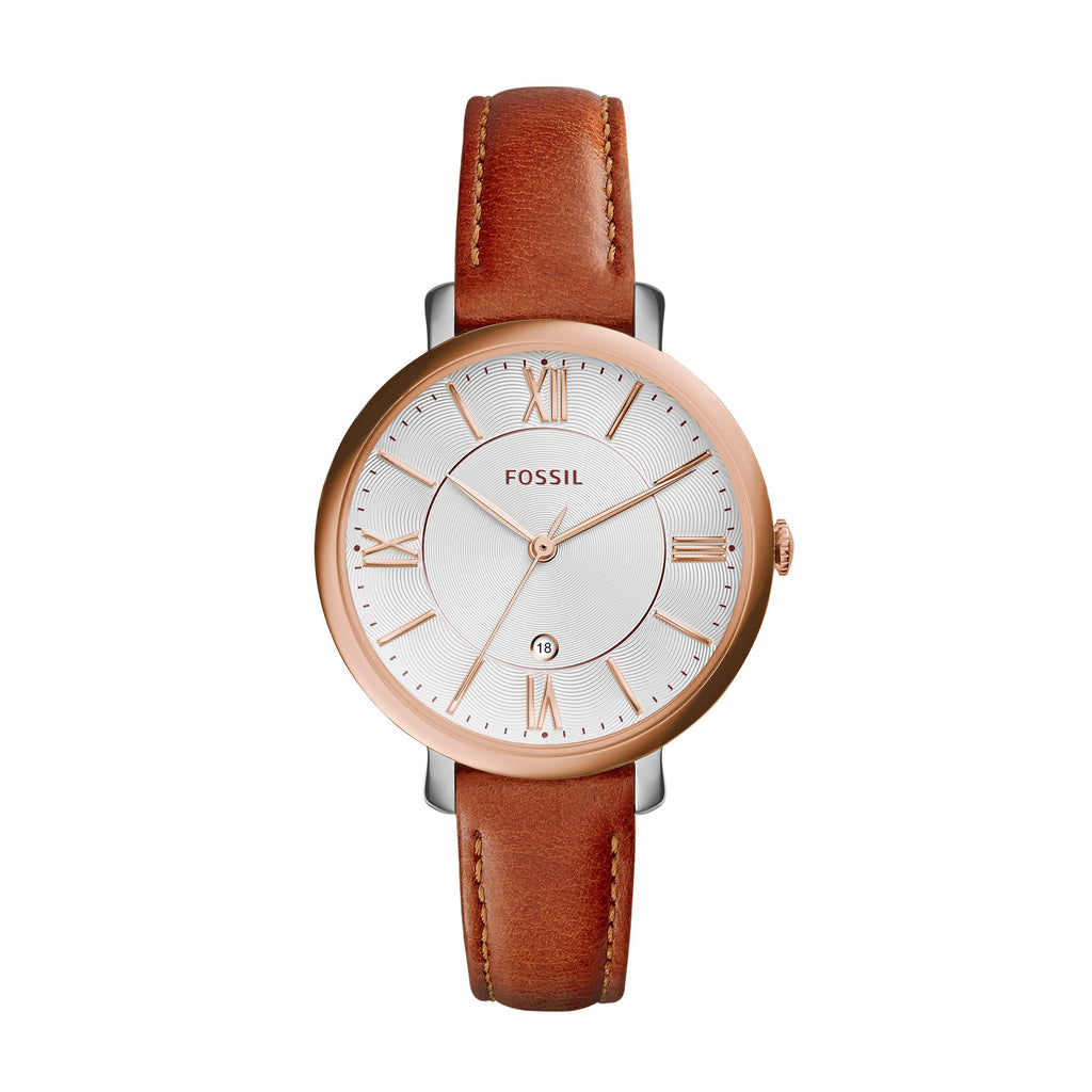 Fossil Women's Rose Gold and Leather Band Watch ES3842 Watches Fossil