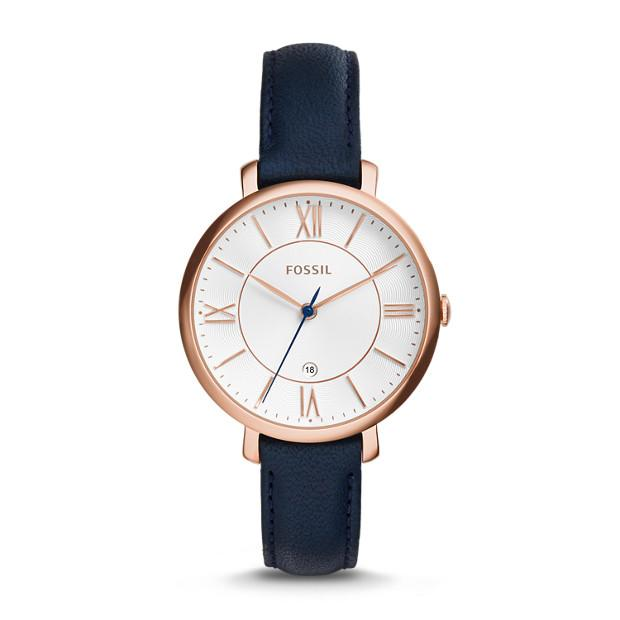 Fossil Jacqueline Navy Leather Watch Watches Fossil