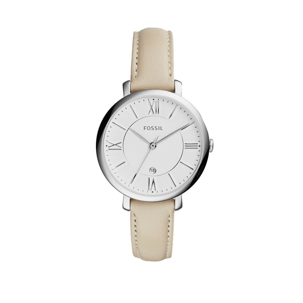 Fossil Ladies Jacqueline Beige Leather Watch ES3793 Watches Fossil