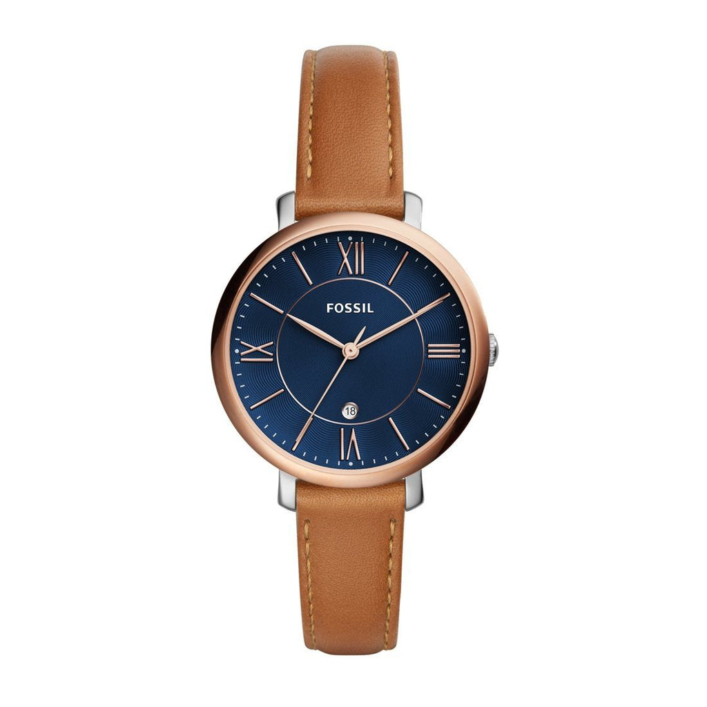 Fossil Ladies Jacqueline Blue Face Rose Gold Case Brown Leather Band Model ES4274 Watches Fossil