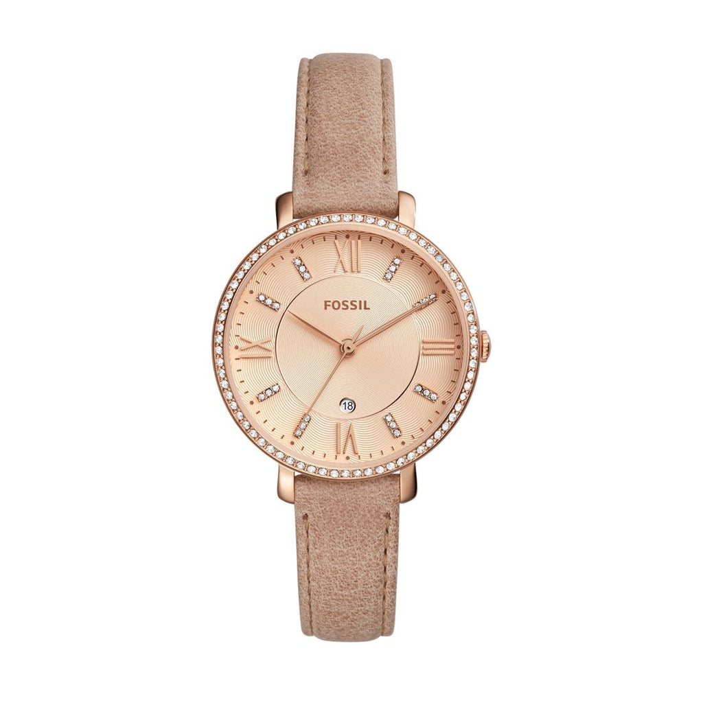 Fossil Ladies Jacqueline Crystal Case Beige Leather Band Model ES4292