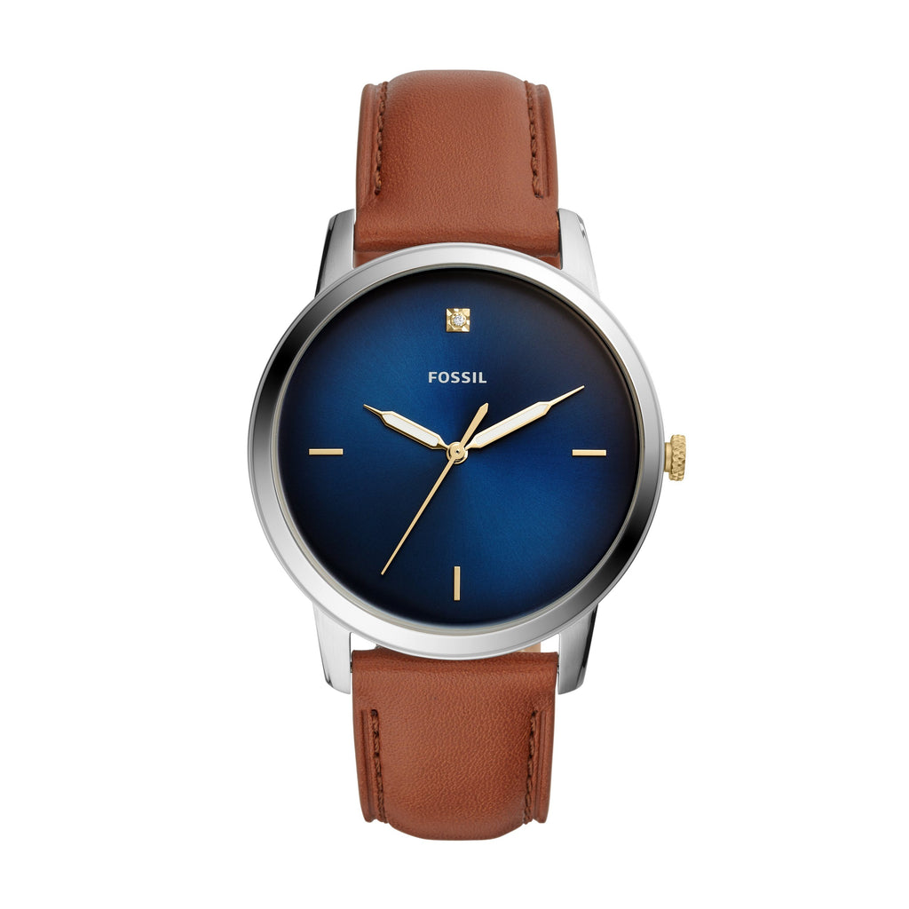 FOSSIL THE MINIMALIST BLUE FACE SILVER CASE BROWN LEATHER BAND Watches Fossil