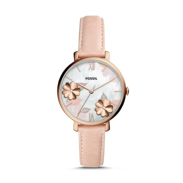 Fossil Jacqueline Three-Hand Blush Floral Leather Watch ES4671P