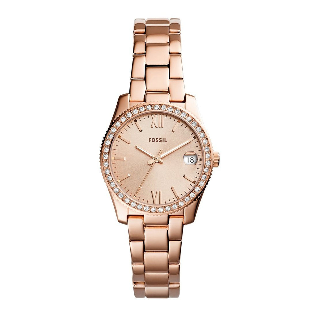 Fossil Ladies Scarlette Rose Gold Case Stone Set Dial Model ES4318 Watches Fossil