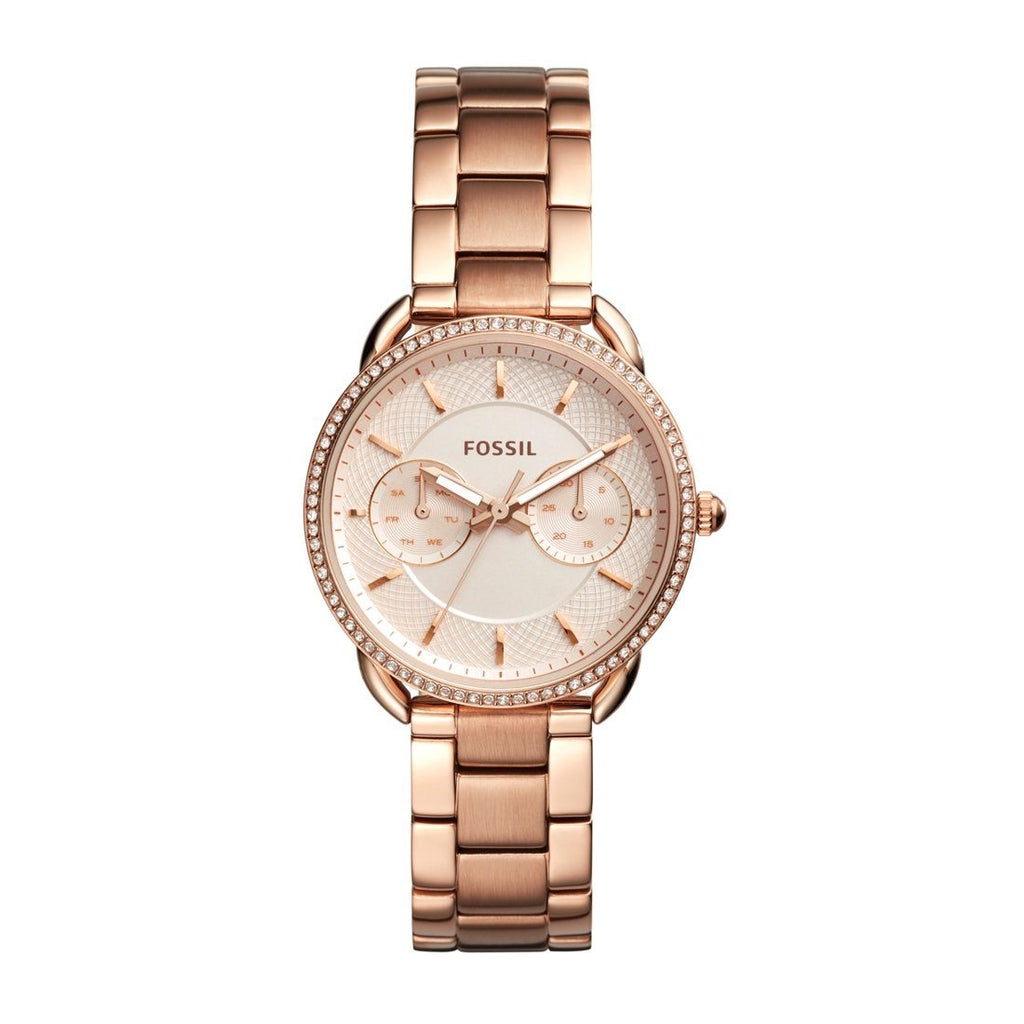 Fossil Ladies Tailor Multifunction Rose Gold-Tone Watch ES4264 Watches Fossil