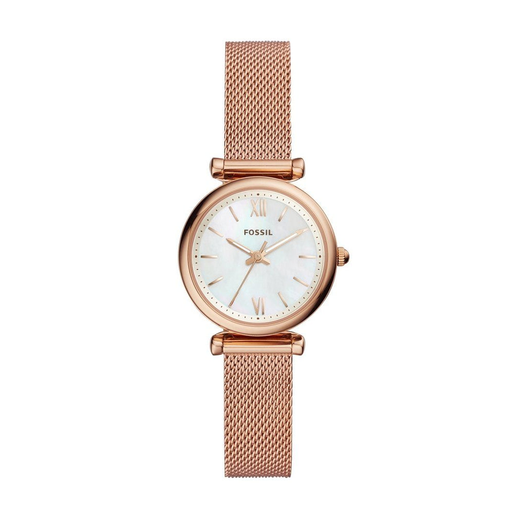 Fossil Ladies Carie Mini Rose Gold Case Band Model ES4433