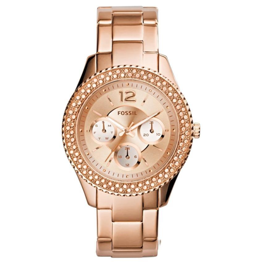 Fossil Stella Multifunction Rose-Tone Stone Set Watch ES3590 Watches Fossil