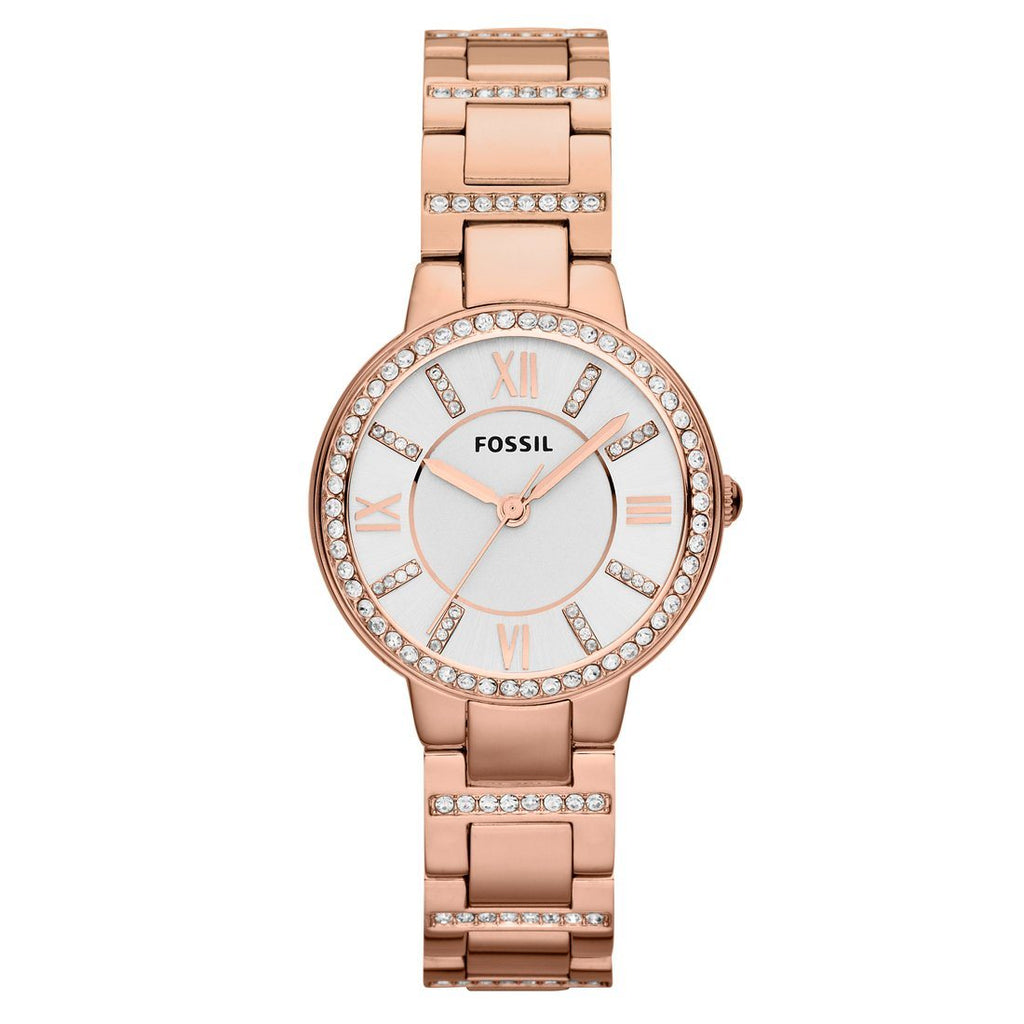 Fossil Virginia Ladies Stone Set Rose Gold Watch Watches Fossil