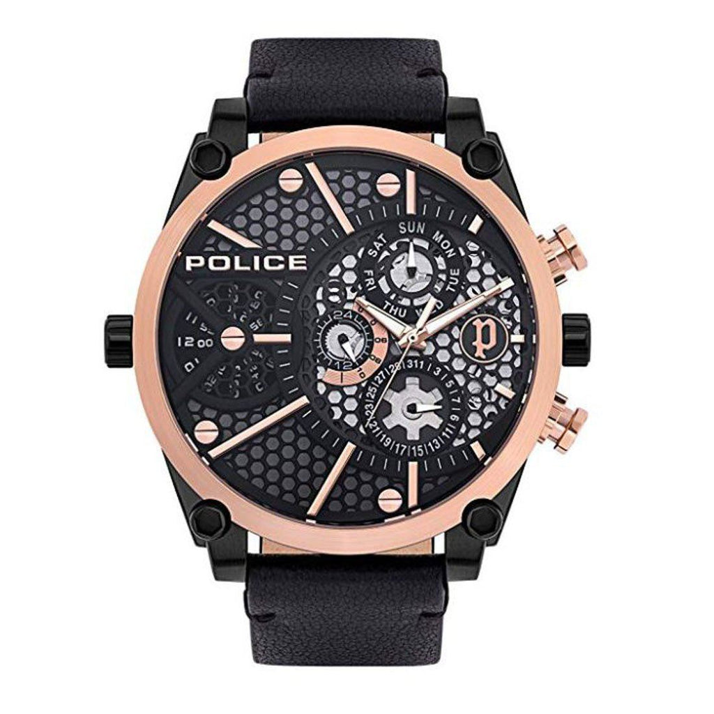 Police Vigor Multifunction Black & Rose Leather Watch PL.15381JSBR/61