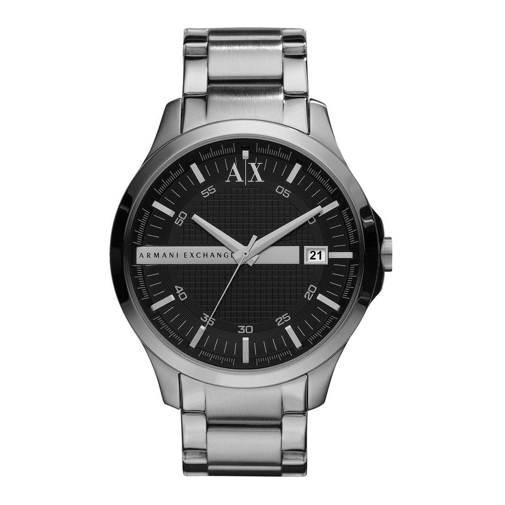 Armani Exchange Hampton Black Face Silver Band Watch - AX2103