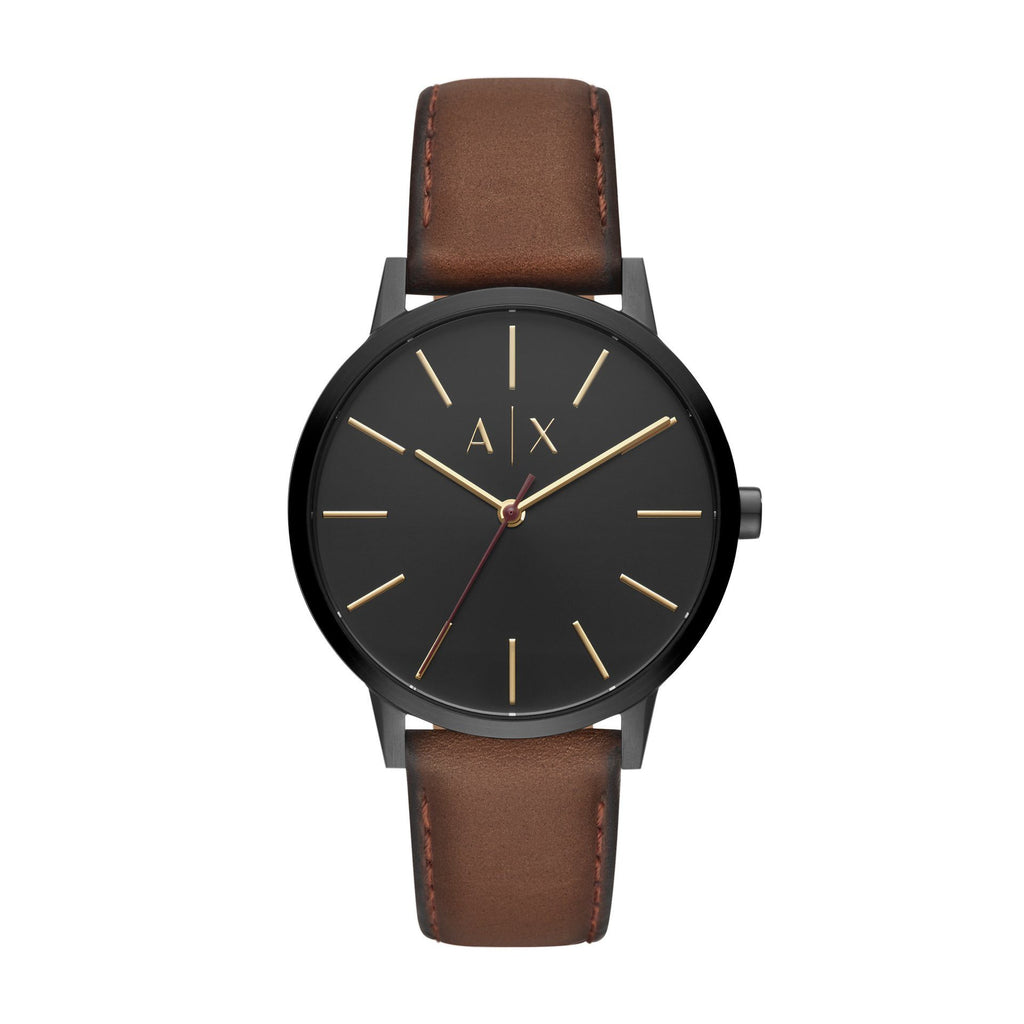 Armani Exchange Cayde Black and Brown Leather Watch AX2706 Watches Armani Exchange