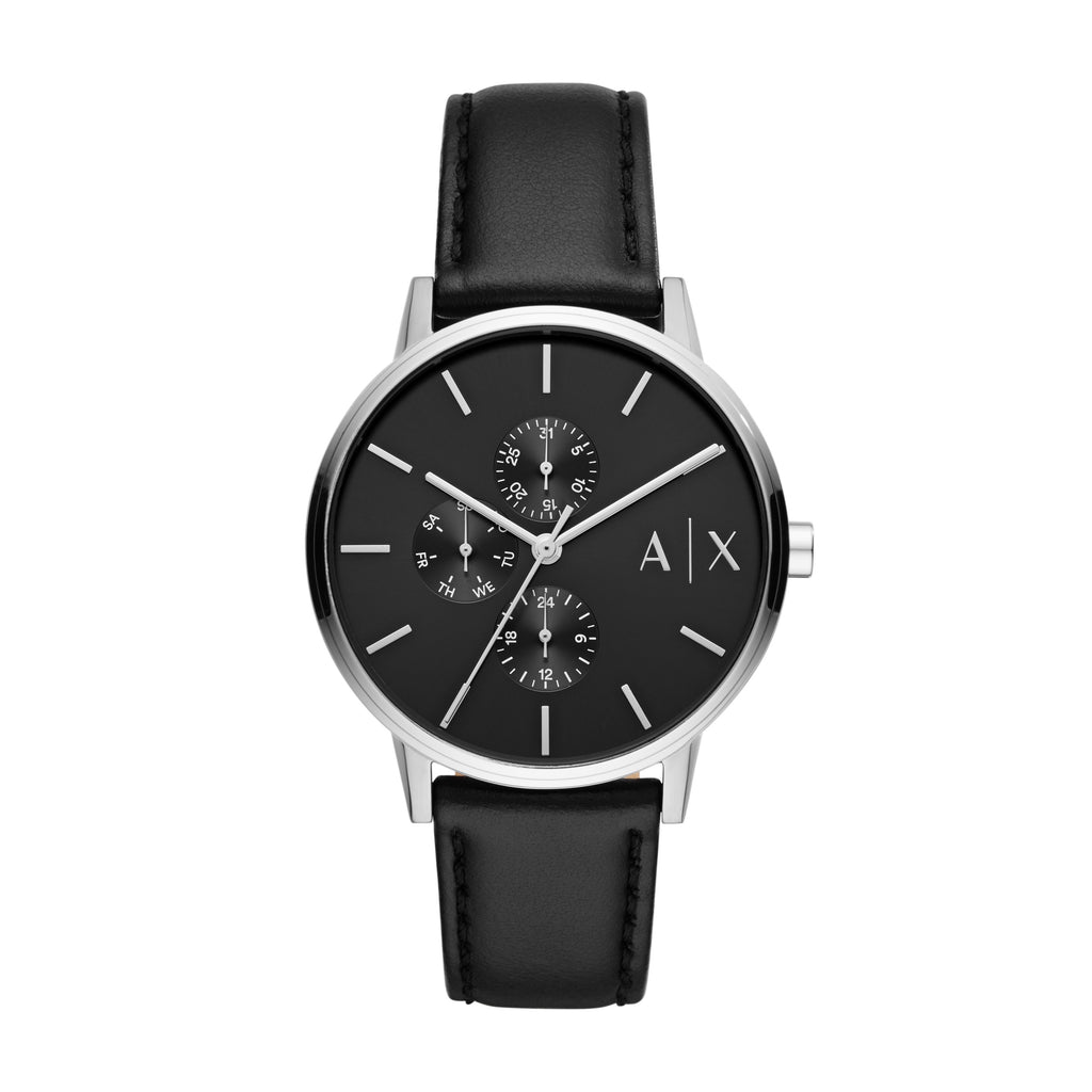 ARMANI EXCHANGE CAYDE BLACK FACE SILVER CASE LEATHER BAND Watches Armani Exchange