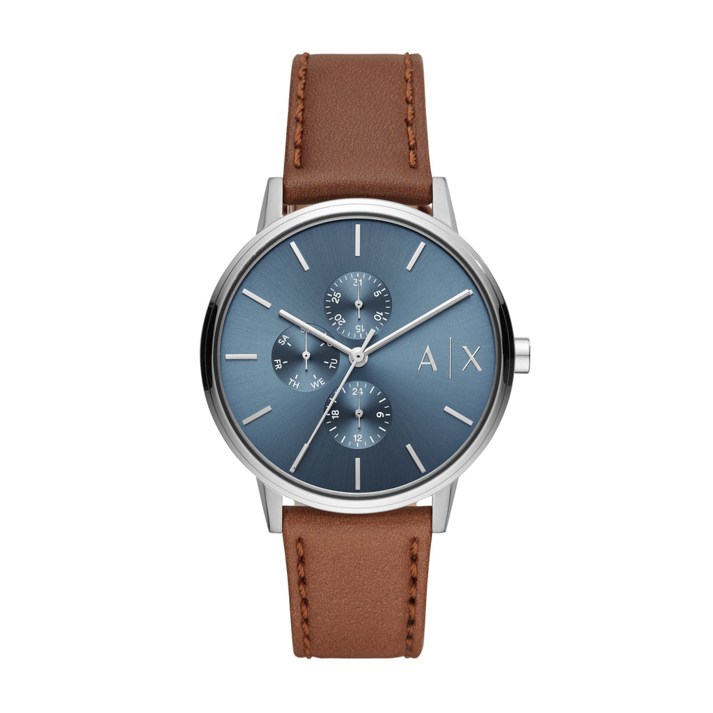 ARMANI EXCHANGE BLUE FACE BROWN LEATHER BAND Watches Armani Exchange