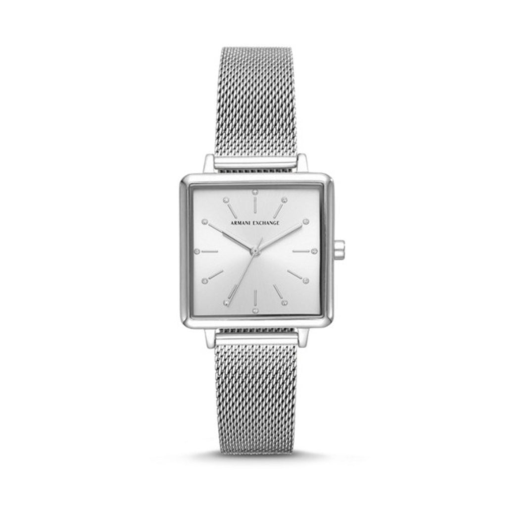 Armani Exchange Lola Square Silver Face Mesh Watch AX5800