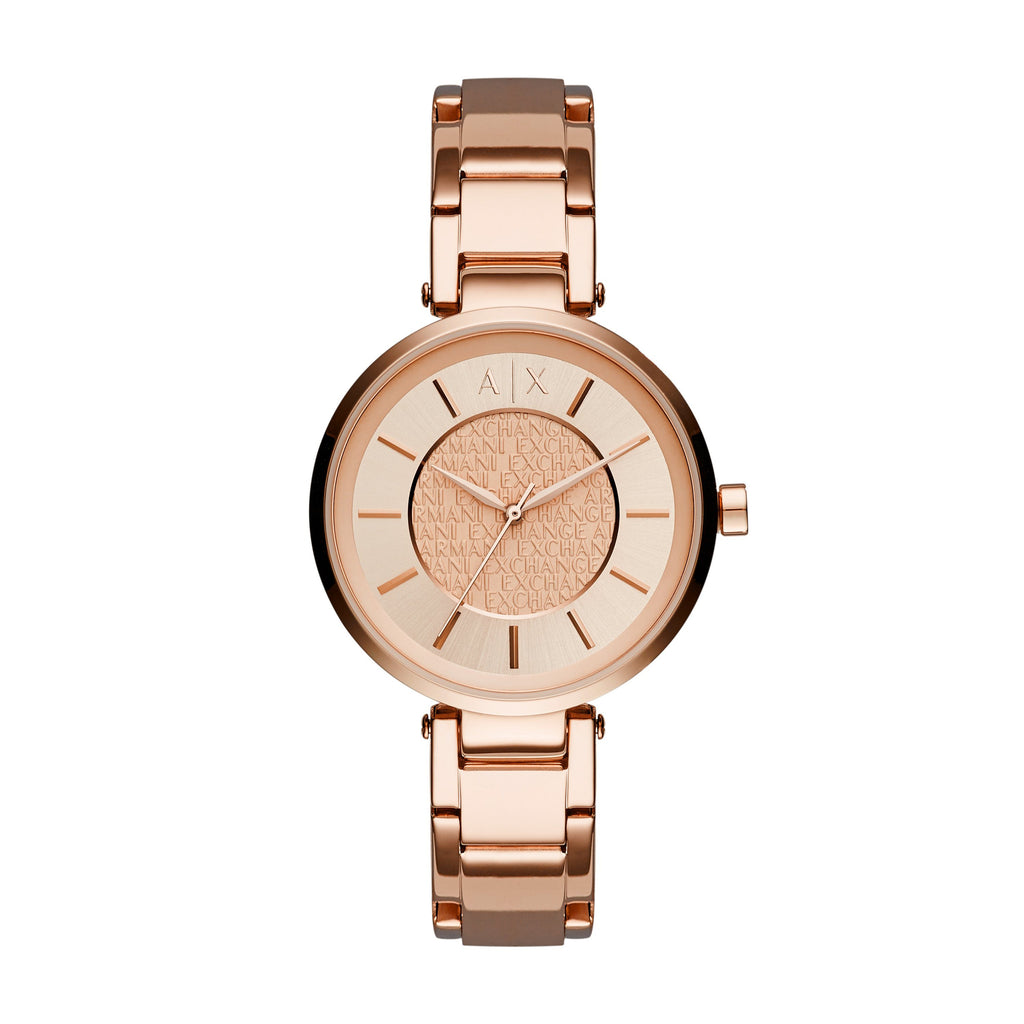 ARMANI LADIES ROSE GOLD ROSE FACE Watches Armani Exchange