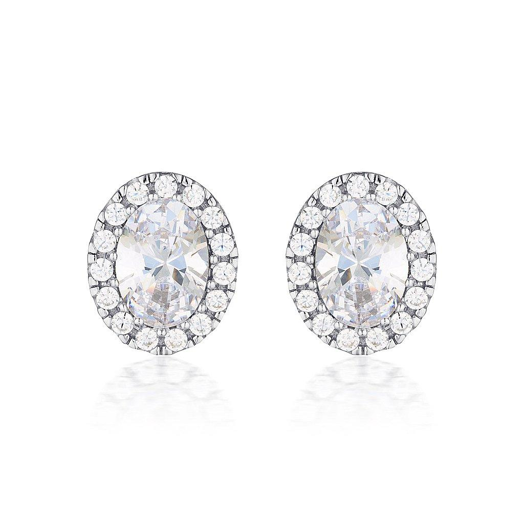 OVAL HALO SILVER STUD Bevilles Jewellers