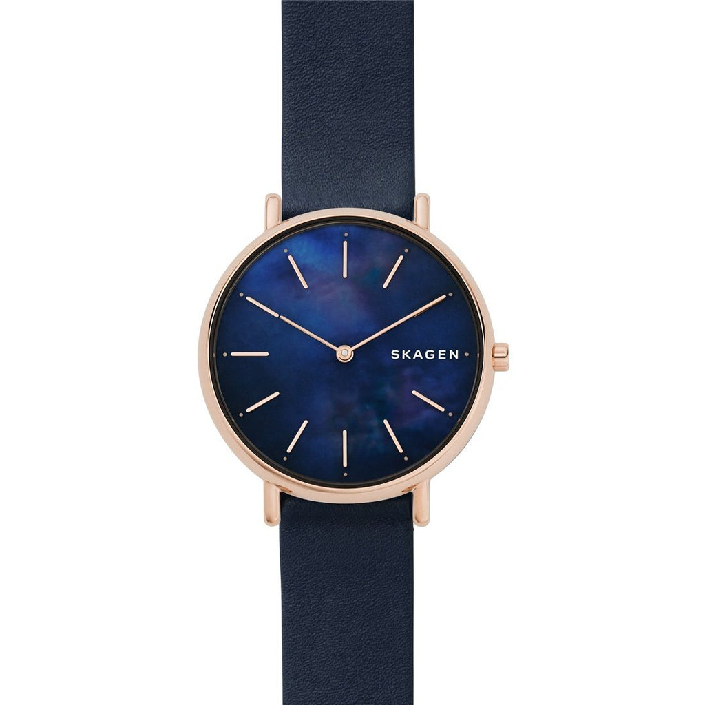 Skagen Signatur Slim Blue Leather Watch SKW2731