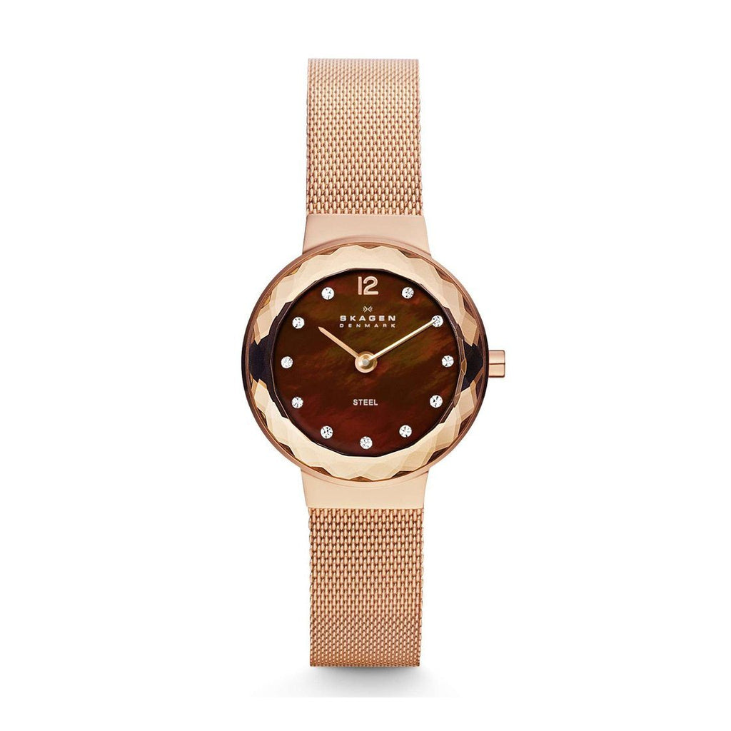 Skagen Ladies Rose Gold Stone Set Watch Model 456SRR1