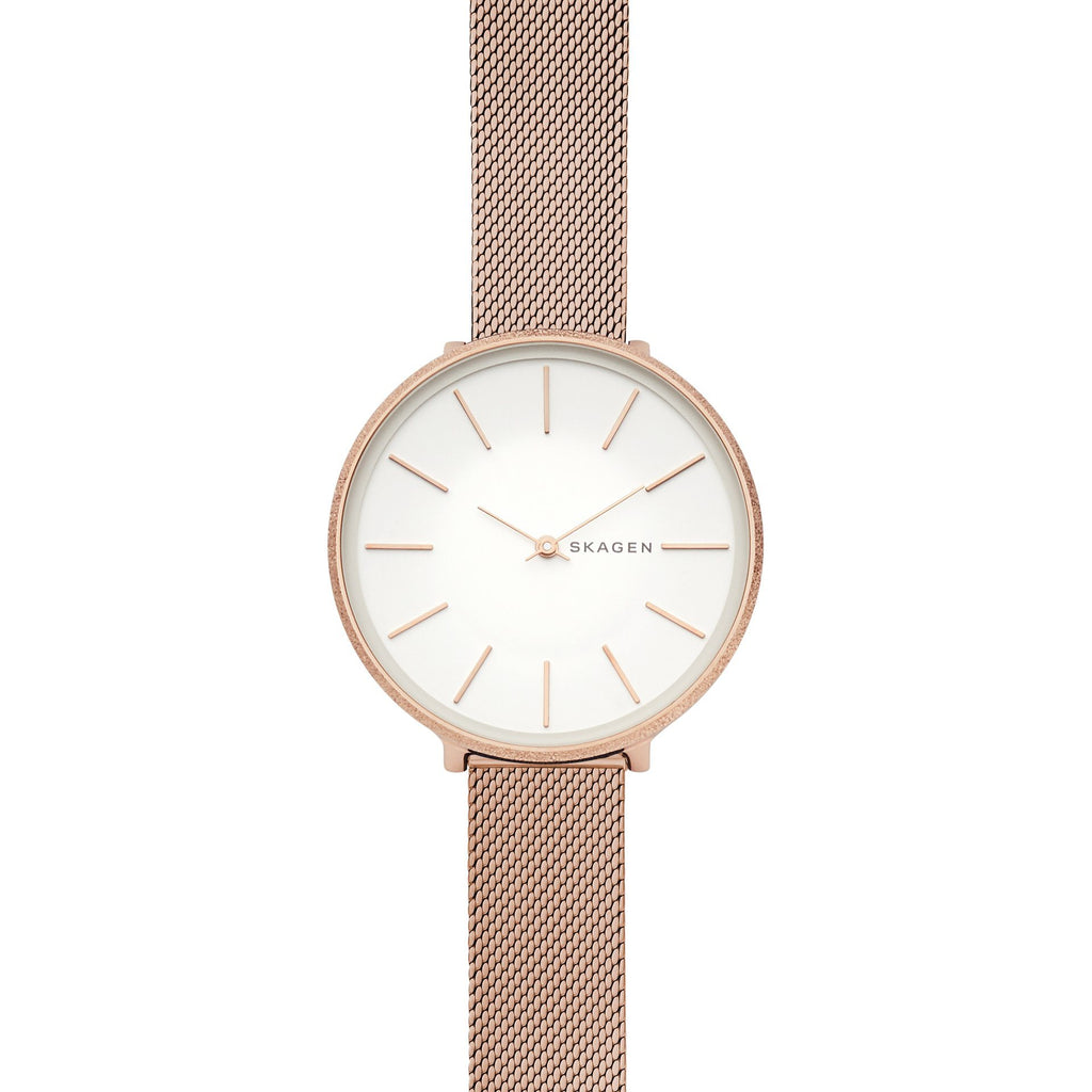 Skagen Karolina Rose-Tone Silk-Mesh Watch SKW2726