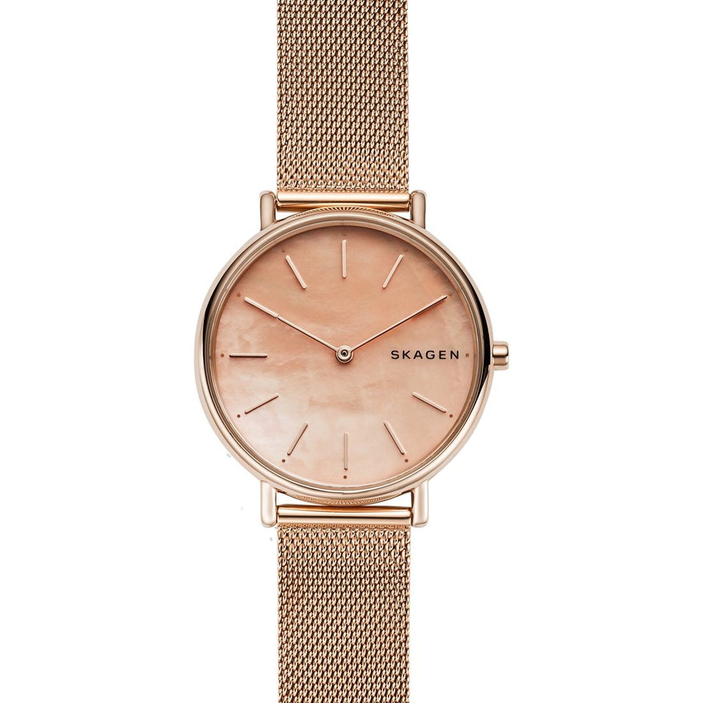 Skagen Signatur Slim Rose-Tone Steel-Mesh Watch SKW2732