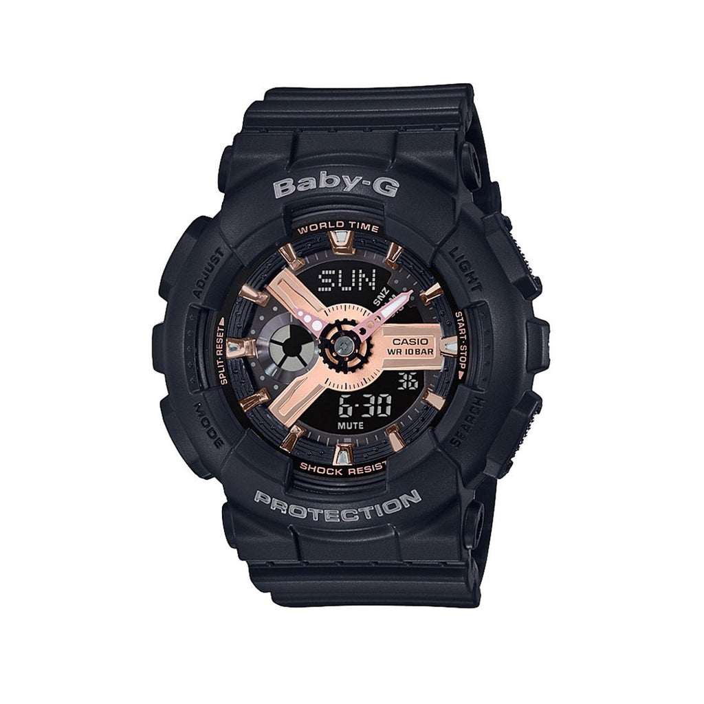 Casio Baby G Analog-Digital Black Rose Gold Watch BA-110RG-1ADR