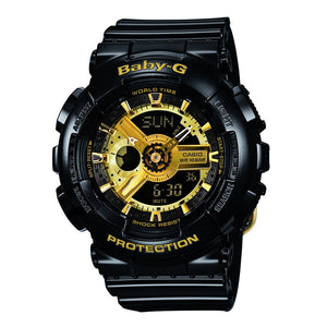 Casio Baby-G DUO Gold and Black Dial Rubber Band Watch