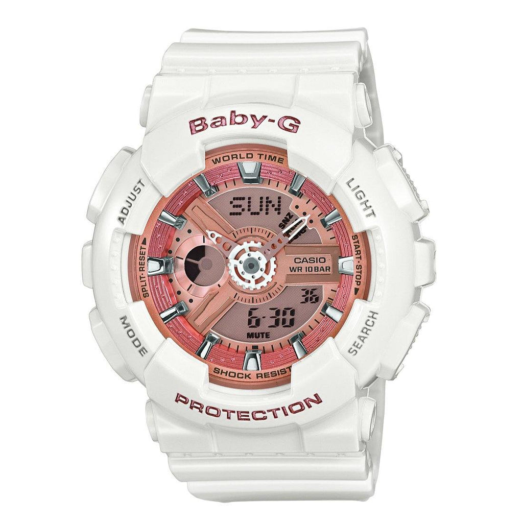 Casio Baby-G DUO Bronze Dial White Rubber Band Watch Watches Casio