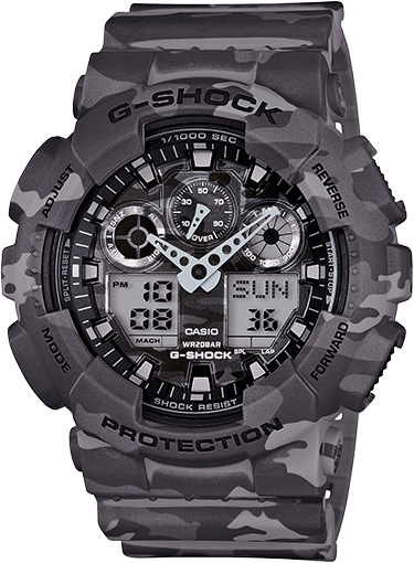 Casio G-Shock Camouflage Series Grey GA-100CM-8A Watches Casio