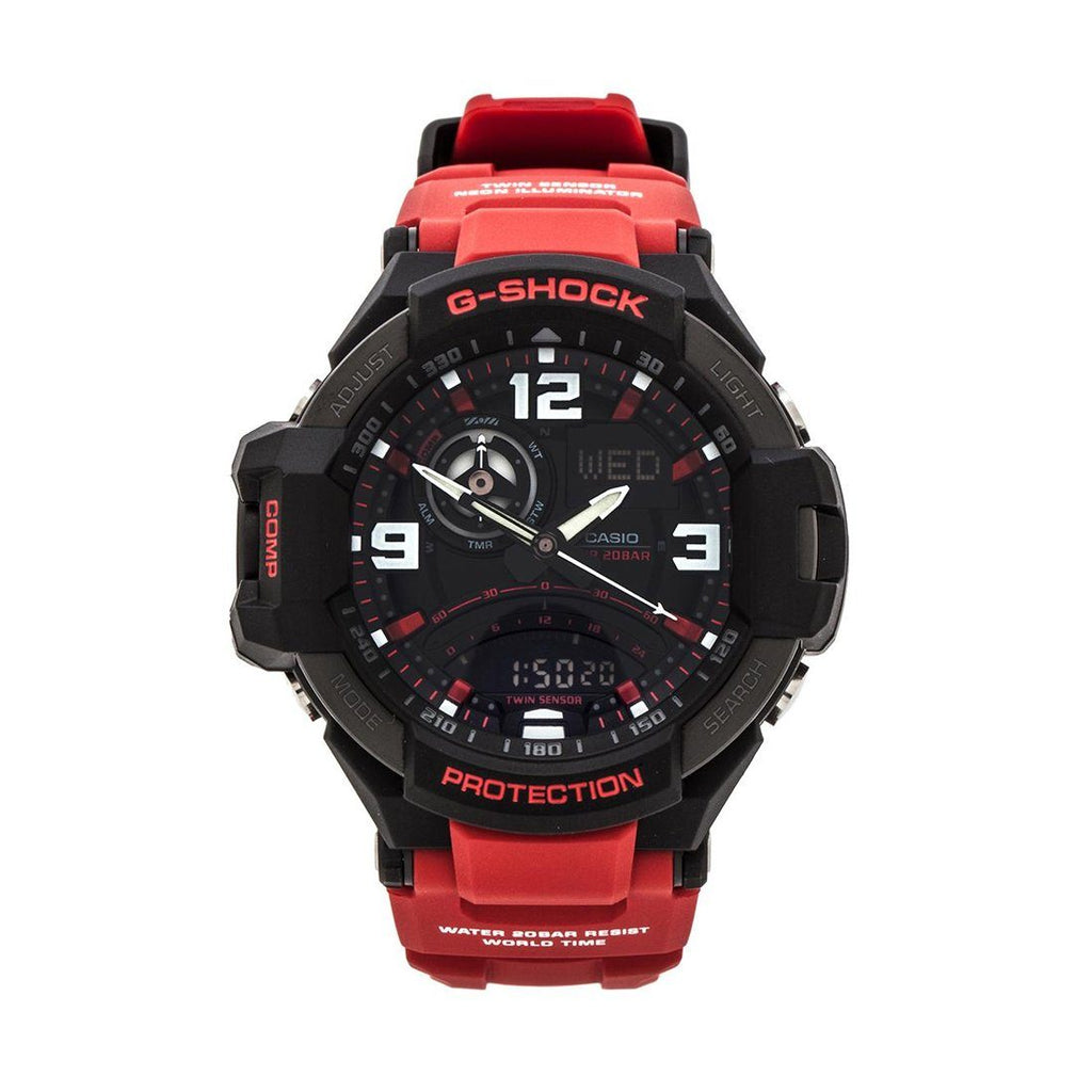 Casio G-Shock Digital Dial 200M Red Resin Band Watch GA1000-4B Watches Casio