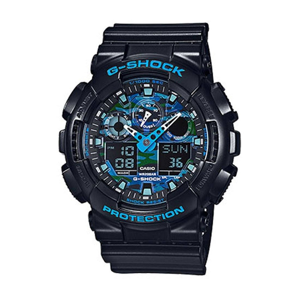 Casio G Shock Blue And Black Dial Black Band Digital Model GA100CB-1A