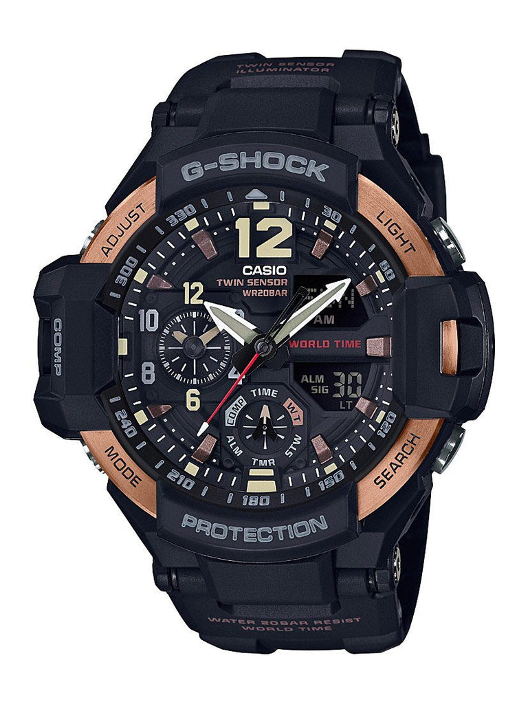 Casio G-Shock Gravity Master Black & Brown Watch GA1100RG-1A Watches Casio