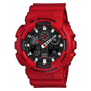Casio G-Shock Black Analog-Digital Red Watch GA100B-4A