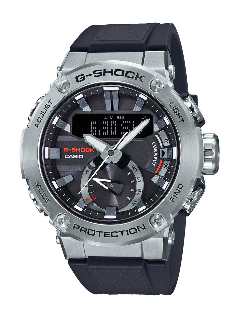 CASIO G STEEL G SHOCK SILVER CASE BLACK BAND DIG ANA Watches Casio