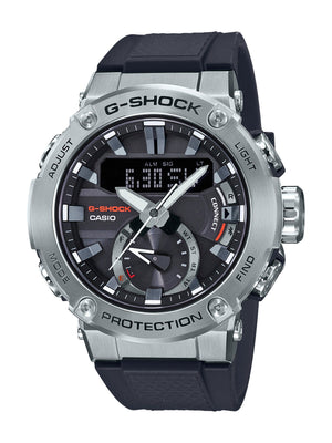 CASIO G STEEL G SHOCK SILVER CASE BLACK BAND DIG ANA